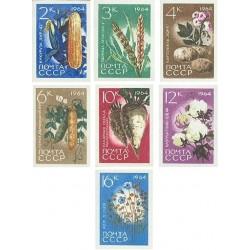 7 عدد تمبر محصولات کشاورزی - بیدندانه - شوروی 1964