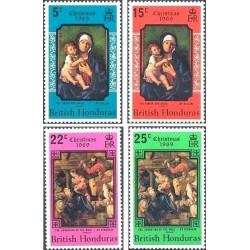 4 عدد تمبر کریستمس - تابلو نقاشی - هندوراس بریتانیا 1969
