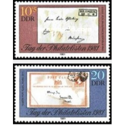 2 عدد تمبر  روز تمبر - جمهوری دموکراتیک آلمان 1981