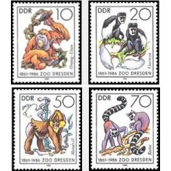 4 عدد تمبر 125مین سال باغ وحش درسدن - جمهوری دموکراتیک آلمان 1986