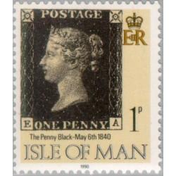 1 عدد تمبر 150مین سالگرد انتشار اولین تمبر پستی - پنی سیاه - جزیره من 1990