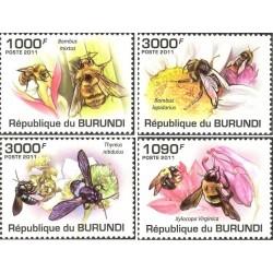 4 عدد تمبر حشرات - زنبورها - بروندی 2011  قیمت 9.3 دلار