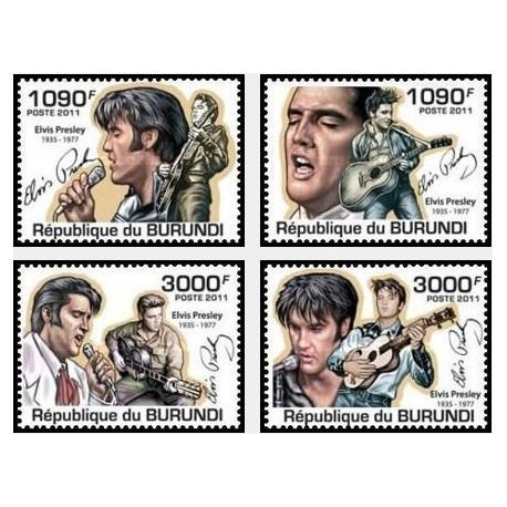4 عدد تمبر یادبود الویس پریسلی - خواننده - بروندی 2011  قیمت 9.3 دلار