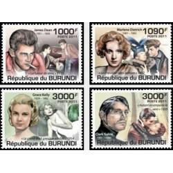 4 عدد تمبر یادبود هنرپیشه های سینما - بروندی 2011  قیمت 9.3 دلار