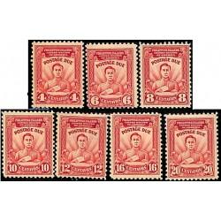 7 عدد تمبر سری پستی - حقوق پستی - با شارنیه - فیلیپین 1928