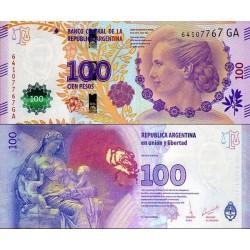 اسکناس 100 پزو  - یادبود شصتمین سال درگذشت اوا پرون همسر رئیس جمهور - آرژانتین 2017 بدون علائم ویژه نابینایان