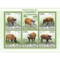 مینی شیت پستانداران - گراز سرخ  رودخانه - کومور 2009 قیمت 9.31 دلار