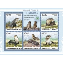 مینی شیت پستانداران - فوک خزدار قطبی - کومور 2009 قیمت 9.31 دلار