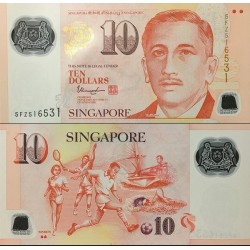 اسکناس پلیمر 10 دلار - سنگاپور 2016 با دو علامت پشت زیر کلمه Sport