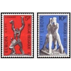 2 عدد تمبر مشترک اروپا - Europa Cept - مجسمه ها -  بلژیک 1974