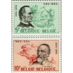 2 عدد تمبر صدمین سالگرد اتحادیه جهانی پست - UPU -  بلژیک 1974