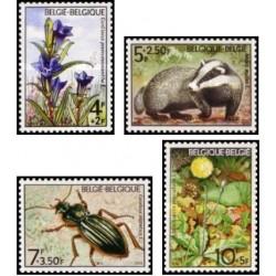 4 عدد تمبر  گلها و جانوارن -  بلژیک 1974