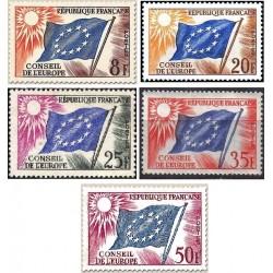5 عدد تمبر شورای اروپا -  پرچم ها- فرانسه 1958