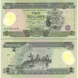 اسکناس پلیمر 2 دلار - یادبود 25مین سالروز تاسیس بانک مرکزی  - جزایر سلیمان 2001