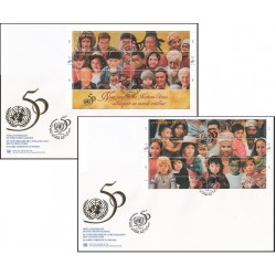 2 عدد پاکت مهر روز پنجاهمین سالگرد سازمان ملل - ژنو - سازمان ملل 1995  سایز بزرگ