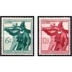 2 عدد تمبر شکار در حومه اینزبروک - رایش آلمان 1944 با شارنیه