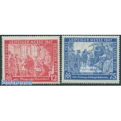 2 عدد تمبر نمایشگاه پائیزه لایپزیک - رایش آلمان 1947