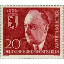 1 عدد تمبر یادبود والتر شرایبر - شهردار برلین - برلین آلمان 1960