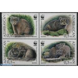 4 عدد تمبر حیوانات  در معرض انقراض - مانول - WWF - آذربایجان 2016 قیمت 4.4 یورو