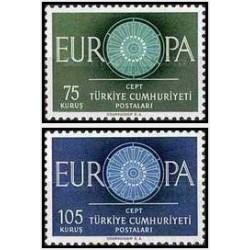 2 عدد تمبر مشترک اروپا - Europa Cept - ترکیه 1960