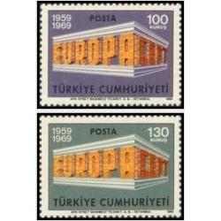 2 عدد تمبر مشترک اروپا - Europa Cept - ترکیه 1969