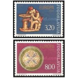 2 عدد تمبر مشترک اروپا - Europa Cept - یوگوسلاوی 1976