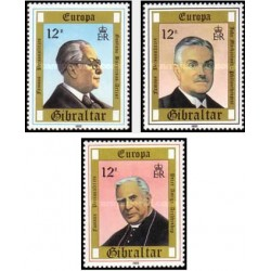3 عدد تمبر مشترک اروپا - Europa Cept - مشاهیر - جبل الطارق 1980