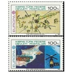 2 عدد تمبر مشترک اروپا - Europa Cept - اختراعات - قبرس ترکیه 1983