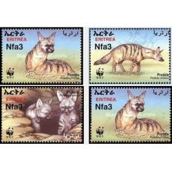 4 عدد تمبر WWF - گرگ Aardwolf - اریتره 2001