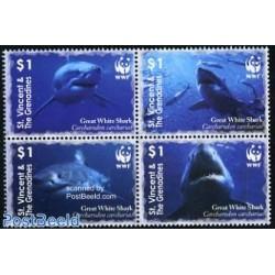 4 عدد تمبر WWF -  کوسه سفید بزرگ - گرندین سنت وینسنت 2006