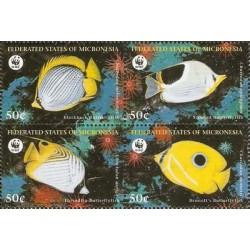 4 عدد تمبر WWF -  ماهیها - میکرونزیا 1997