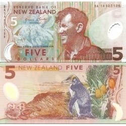 اسکناس پلیمر 5 دلار - تصویر ادموند هیلاری نخستین فاتح اورست - نیوزلند 2014