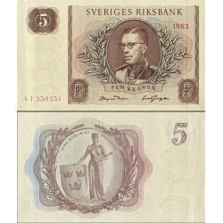 اسکناس 5 کرون - سوئد 1963