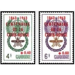 2 عدد تمبر صدمین سالگرد صلیب سرخ - سورشارژ روی تمبر ریشه کنی مالاریا - کامبوج 1963