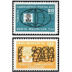 2 عدد تمبر سال جهانی پناهندگان - ترکیه 1960