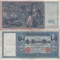 اسکناس 100 مارک - رایش آلمان 1910 کاغذ مایل به آبی مطابق تصویر