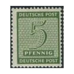 1 عدد تمبر سری پستی - 5 فنیک - ساشن غربی - جمهوری دموکراتیک آلمان 1945 با شارنیه