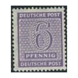 1 عدد تمبر سری پستی - 6 فنیک - ساشن غربی - جمهوری دموکراتیک آلمان 1945 با شارنیه