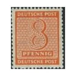 1 عدد تمبر سری پستی - 8 فنیک - ساشن غربی - جمهوری دموکراتیک آلمان 1945 با شارنیه