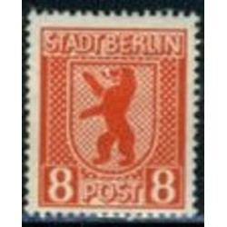 1 عدد تمبر سری پستی - 8 - شهر برلین - جمهوری دموکراتیک آلمان 1945 با شارنیه