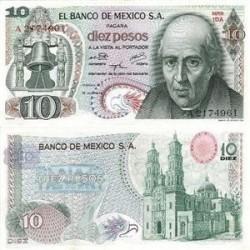 اسکناس 10 پزو مکزیک 1974 تک