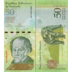 اسکناس 50 بولیوار - ونزوئلا 2015    تاریخ 05.11.2015