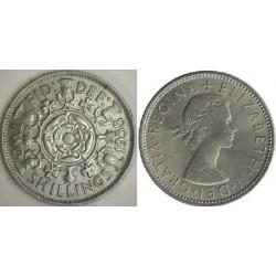 سکه 2 شیلینگ - نیکل مس - انگلیس 1958 غیر بانکی