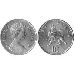 سکه 10 پنس نیکل مس - انگلیس 1969 غیر بانکی