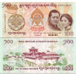 اسکناس 100 نگولتروم - یادبود ازدواج سلطنتی اکتبر 2011 - بوتان 2011 با فولدر مخصوص - سفارشی