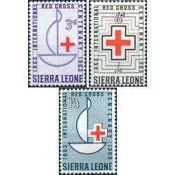 3 عدد تمبر صدمین سالگرد صلیب سرخ - سیرالئون 1963