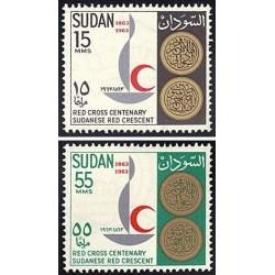 2 عدد تمبر صدمین سالگرد صلیب سرخ بین المللی - سودان 1963