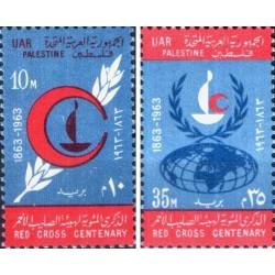 2 عدد تمبر صدمین سالگرد صلیب سرخ فلسطین 1963 - UAR - مصر 1963