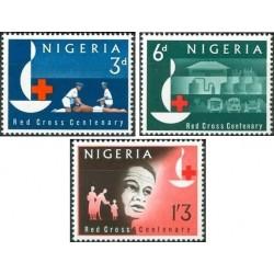 3 عدد تمبر صدمین سالگرد صلیب سرخ - نیجریه 1963