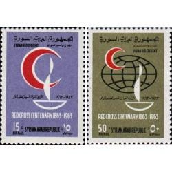 2 عدد تمبر صدمین سالگرد صلیب سرخ - سوریه 1963